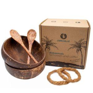 Coconut shells + coasters + wooden spoons – set of 2