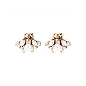 Little Bee Earrings in Cream & Gold - LE037C 500x500