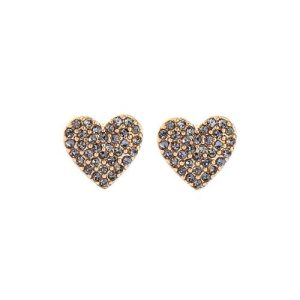 Heart Earrings with Pewter Crystals in Gold - LE107G 500x500
