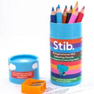 Stib Postive Worded 10 Mini Colouring Pencils Art Travel Pack