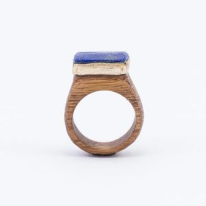 CRYSTAL & WOOD with GOLD ring – FLAT setting