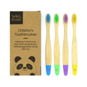 Kid's Bamboo Toothbrush - 4 Pack - Multi-Colour - WildStone Childrens Bamboo Toothbrush Original min 500x500