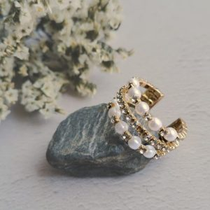 Mother of Pearl and Rhinestone Adjustable Gold Plated Ring - acascasc 1 500x500