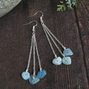 Multi Aquamarine Semi Precious Stone Drop Earrings
