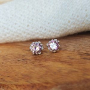 Blossom Pink Quartz Granulated Earrings