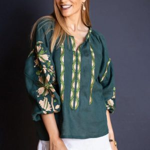 Jayne embroidered linen blouse