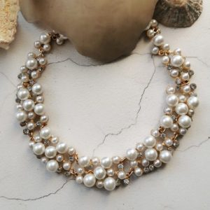 Gold Tone Mother of Pearl & Crysal Necklace - 1090x1500 500x500