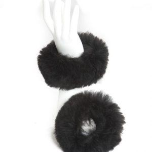 Black Alpaca Fur Cuffs