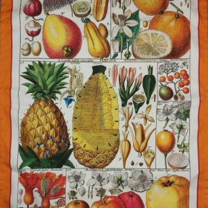 Exotic Fruit Tea Towel Antique Botanical Print 100% Cotton Bright Orange Border