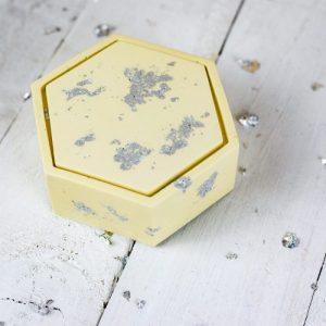 Hexagonal jesmonite trinket box, pastel yellow with lid