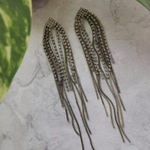 Gold Tone Cubic Zirconia Waterfall Drop Earrings - 750x1000 30 500x500