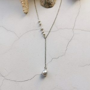 Silver Tone Delicate Drop Mother Of Pearl Necklace - 750x1000 41 500x500