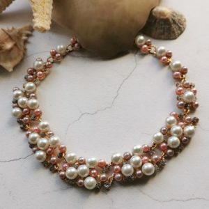 Rose Gold Tone Mother Of Pearl & Crystal Necklace - 802x1000 500x500