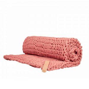 Chunky Knit Blanket Juna Pink Large