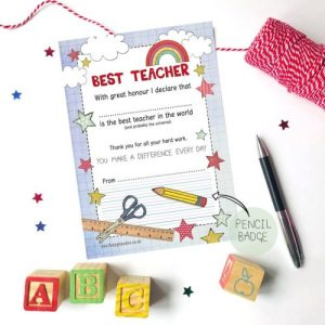 Flossy Teacake Best Teacher Certificate and Pencil Badge - Best Teacher Certificate and Badge 500x500