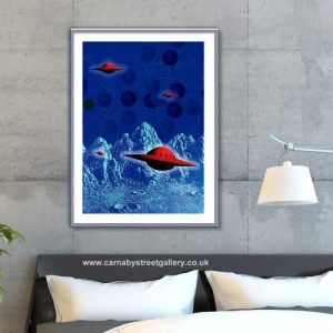 Holy Flying Saucers! Retro UFO Print – 'UNFRAMED' Archival, fadeless ink on exceptional paper.
