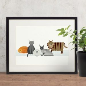Cat Characters Giclee Print - Cats giclee print 500x500