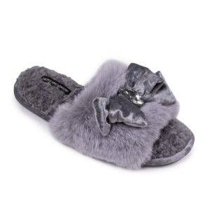 Darcey Embellished Slippers in Grey - Pack of 8 - DARCEY GREY 500x500