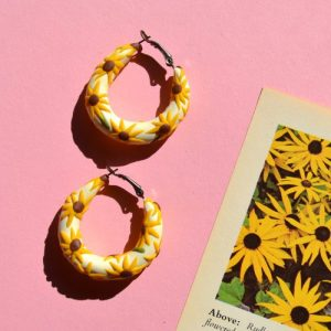 Sunflower Hoop Earrings - DSC 1474 500x500
