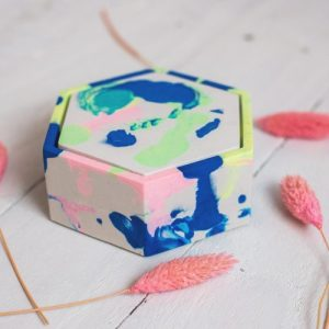 Neon marbled tie dye hexagonal jesmonite trinket box with lid