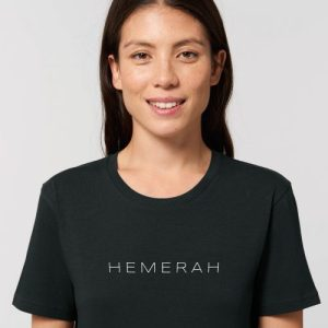 HEMERAH 100% Organic Cotton Tshirt - Hemerah Sustainable Tshirt  Black Studio Front Detail 5 500x500