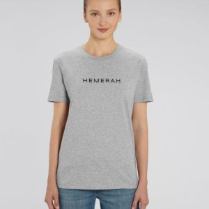 HEMERAH 100% Organic Cotton Tshirt - Heather Grey - Hemerah Sustainable Tshirt  Heather Grey Studio Front Main 5 500x500