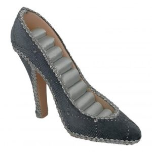 Stiletto shoe ring holder – grey velvet with sparkles (also available in pink)