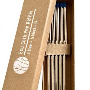 Eco Cork Pen Refill Pack of 10 ( n 5 Black + n 5 Blue)