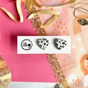 Mini White and Grey Leopard Print Hand Painted Wooden Earrings - IMG 7480 500x500
