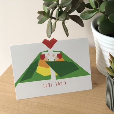 A6 card with two love birds and a heart. the heart pops out from the card at the top.