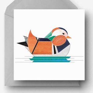 Mandarin Duck Greetings Card - Mandarin card 500x500