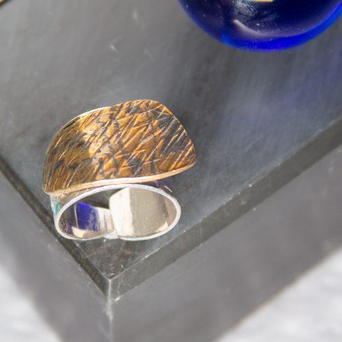 Mokume Gane and sterling silver Menhir Flick Ring