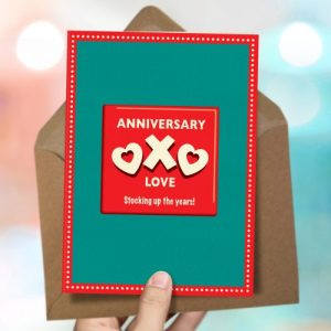 OTS275 Stocking up anniversary card (x6 cards)