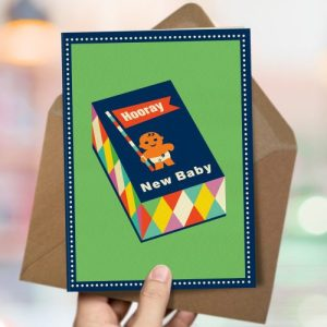 OTS435 Sweet new baby card (x6 cards)