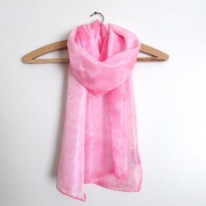 Pink & white flower design hand painted silk scarf