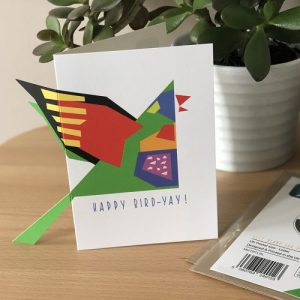 A6 card with a rainbow lorikeet. the wing and tail pops out from the card at the side.