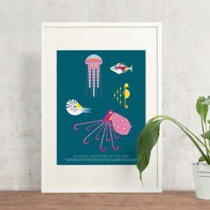 Sea Creatures Giclee Print - Sea creatures print 500x500