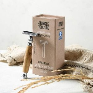Light Wood Reusable Bamboo Safety Razor w/ Natural Jute Travel Pouch + Kraft Paper Gift Box (Unisex)