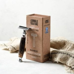 Reusable Bamboo Safety Razor w/ Natural Jute Travel Pouch + Kraft Paper Gift Box (Unisex)
