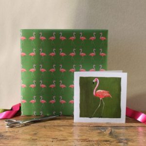 Flamingo Gift Wrap – 25 sheets (Matching cards available)