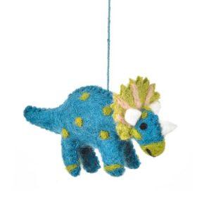 Handmade Felt Tommy Triceratops Hanging Dinosaur Decoration