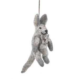 Handmade Felt Roo and Joey Hanging Kangaroo Decoration