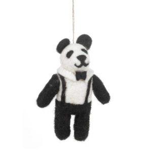Handmade Felt Posh Panda Hanging Biodegradable Decoration