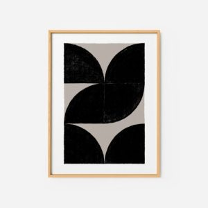 Abstract Wall Art Print 4 - minimalist black and white art abstract paiting for living room 500x500