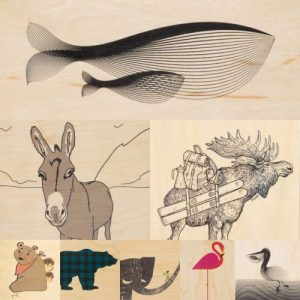 """Pack of wood postcards """"Animals"""""""