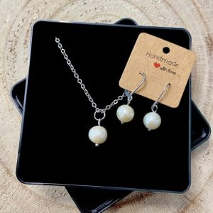 """Stainless steel Earrings & Necklace set """"Cultured pearl gemstone"""" - 01938720 be1a 4eff a349 786d4a7aff36 500x500"""