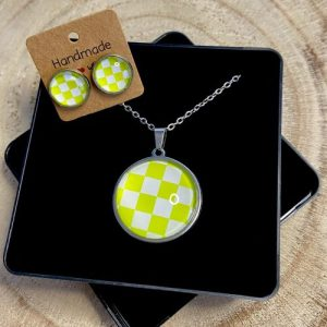 """Stainless steel Earrings & Necklace set """"Chessboard"""" yellow-light green - 0209955e bc2b 4ad5 9e27 0dfd4a220ace 500x500"""
