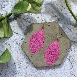 Multi Leaf Drop Cutwork Earrings - Baby Pink - 1000x1000 500x500
