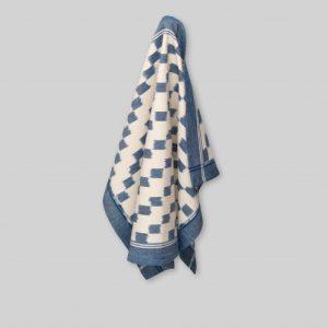 Tea towel, handwoven ikat, block pattern with border in blue/ecru - 100P000009GGTMME21 G 500x500