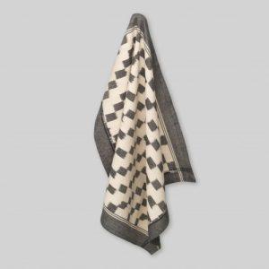 Tea towel, handwoven ikat, block pattern with border in grey/ecru - 100P000010GGTMME21 E 500x500